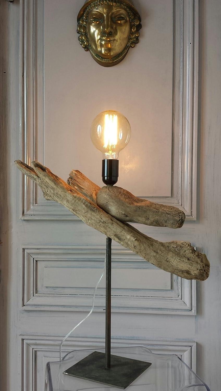 Lampe en bois flotté monté sur pied métal