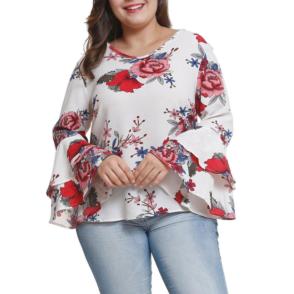 Forthery Women's Casual Blouse Floral Printed Tunic Tops Bell Sleeve Shirts Plue Size Forthery-women tops