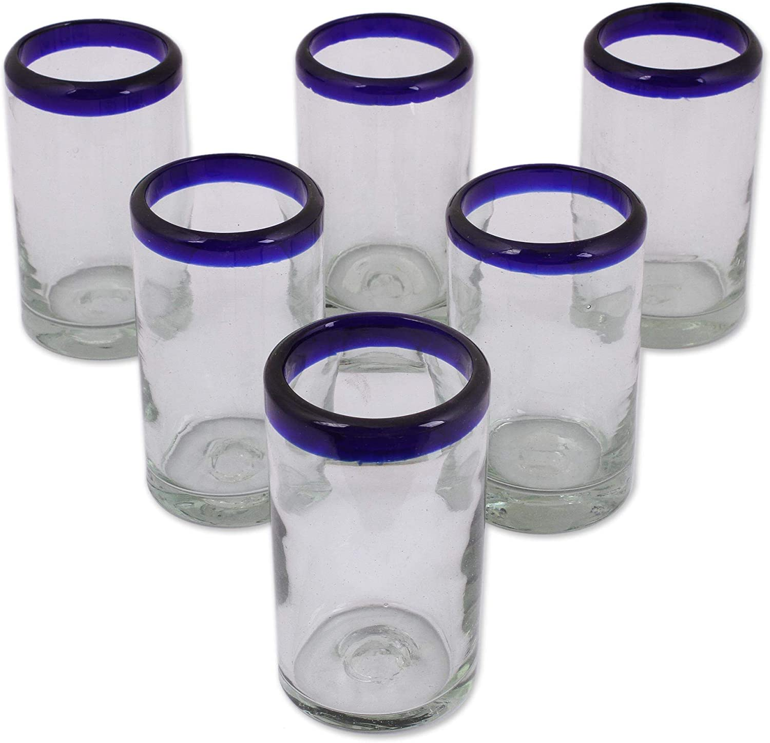 NOVICA Artisan Crafted Hand Blown Clear Blue Rim Recycled Glass Juice Glasses, 4.3In H X 2.6In Diam. 8 Oz. 'Cobalt' (Set Of 6)