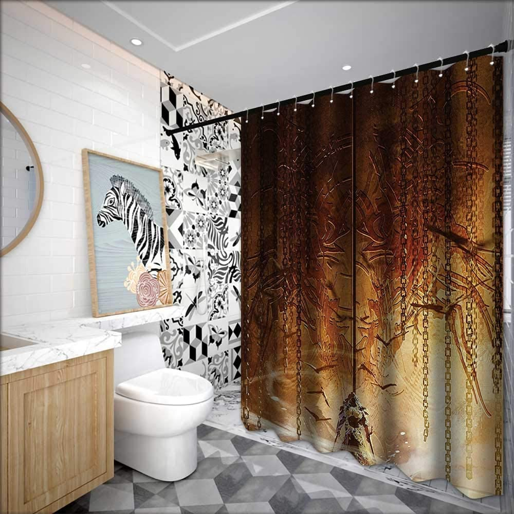 Cortinas de ducha para baño, color marrón y azul, colección de decoración de casa de fantasía, Legend Knight parado en frente de la enorme bronce antiguo Royal Heraldry Gate Artwork, cortina de