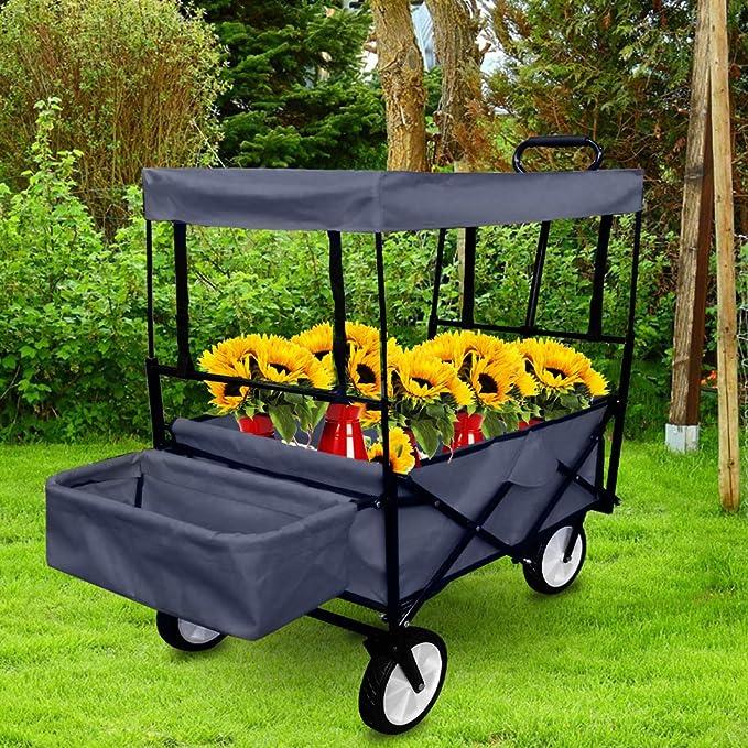UISEBRT - Carro Plegable para jardín, con Frenos, Ruedas Delanteras giratorias 360º, Mit Dach, Blau: Amazon.es: Jardín
