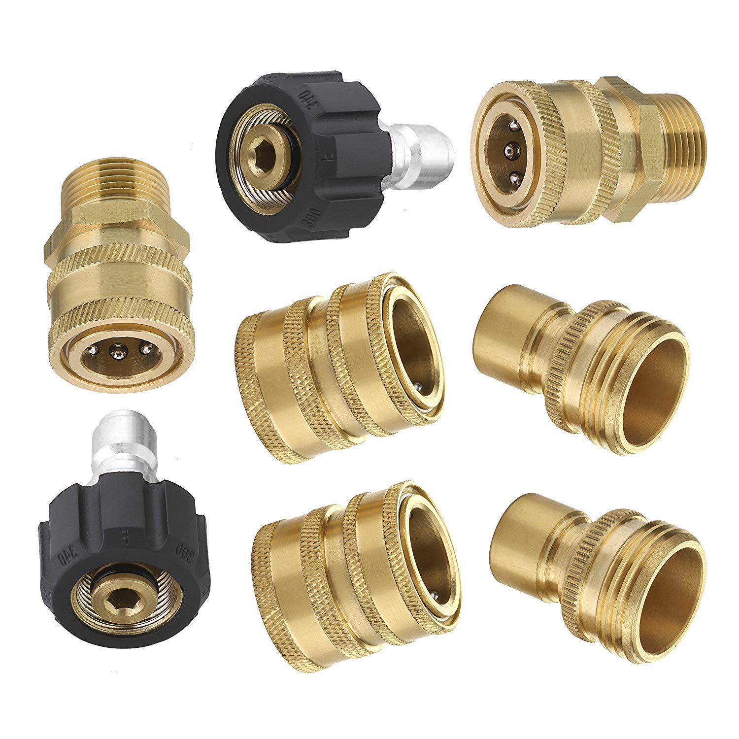 8pcs Pressure Washer Adapter Kit,Garden Hose Quick Connect Fittings,M22 Swivel to 3/8'' Quick Connect, 3/4'' to Quick Release by SYWAN