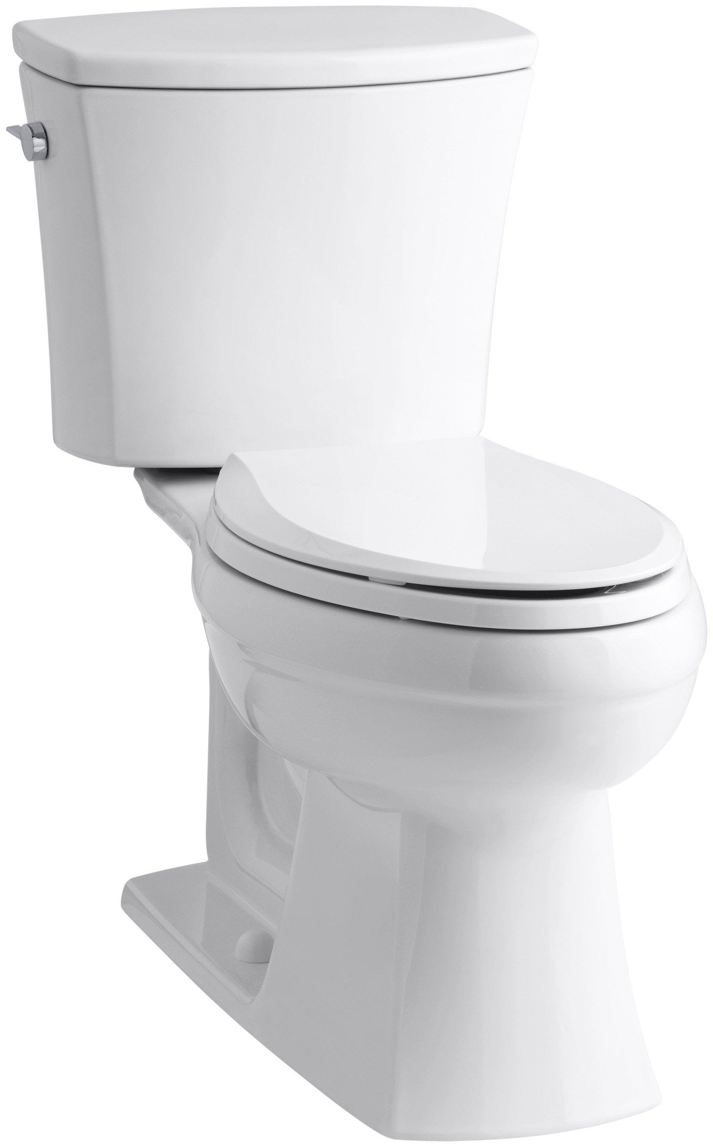 KOHLER K-3754-0 Kelston Comfort Height Two-Piece Elongated 1.6 GPF Toilet with AquaPiston Flush Technology and Left-Hand Trip Lever, White by Kohler