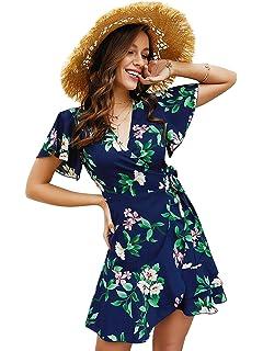 Yacun Women Summer Dress Floral Sleeveless Cocktail Party Bodycon Dress