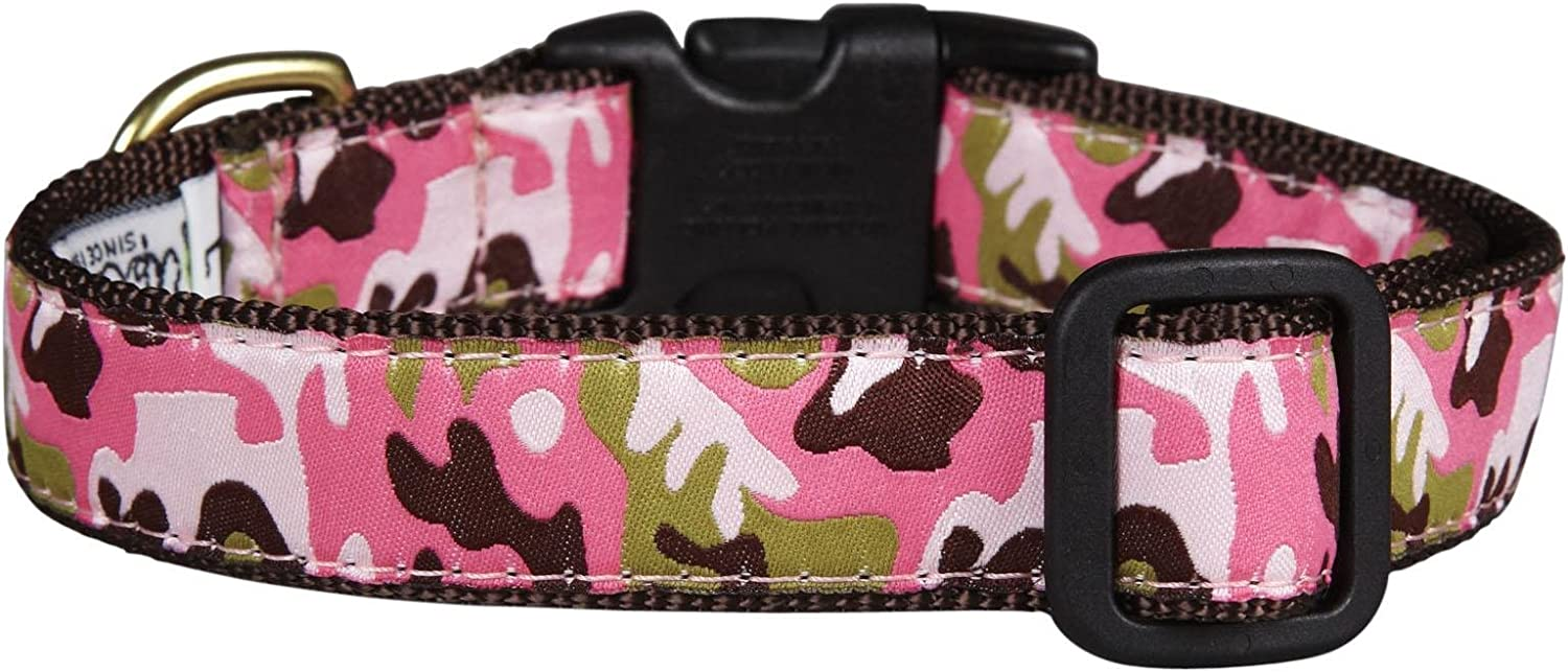 """Up Country Pink Camo Dog Collar M (12-18""""); Wide 1"""""""