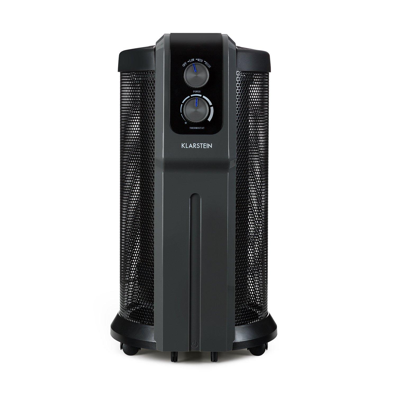 Klarstein Datscha Analógico Radiador Calefactor con Alcance 360° • 2200 W • Termostato analógico • con Ruedas • 3 Niveles • Mando Distancia • Interior Mica ...