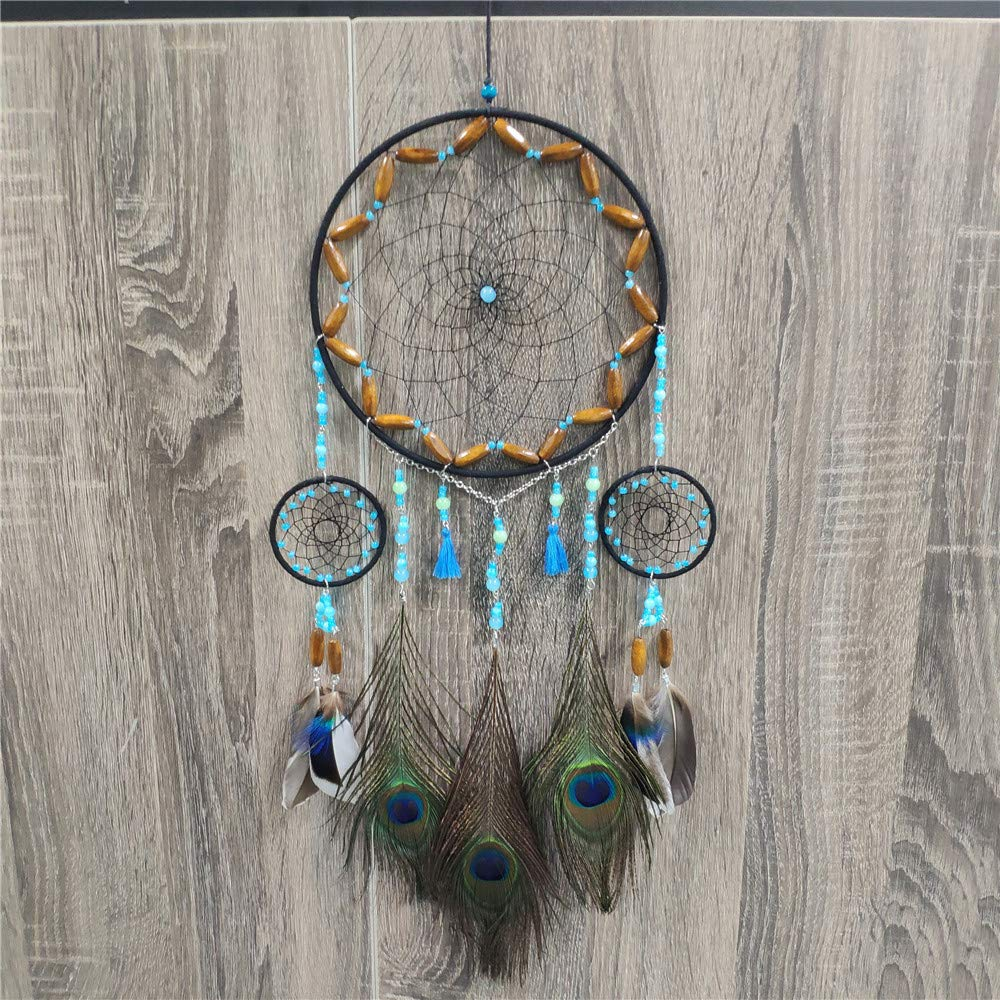 Meticci Dream Catcher Handmade Traditional Peacock Feather Hanging Home Wall Decoration Décor Ornament Craft Native American Style