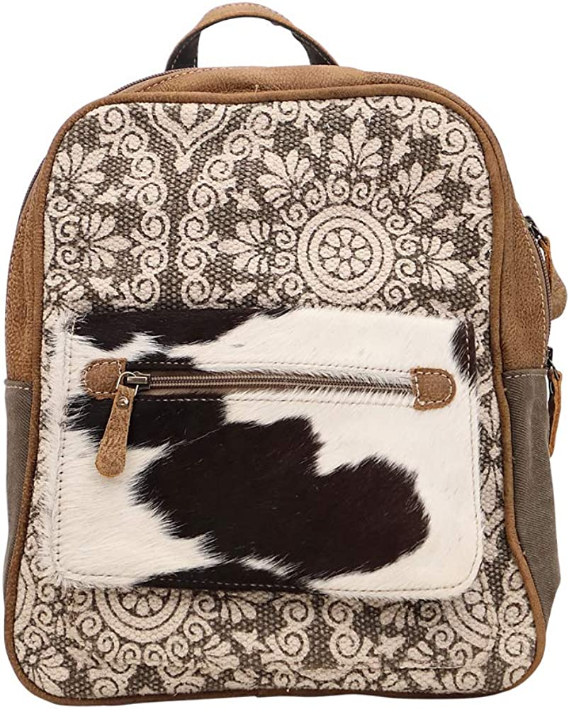 Myra Bag Clique Upcycled Canvas Cowhide Backpack S-1446