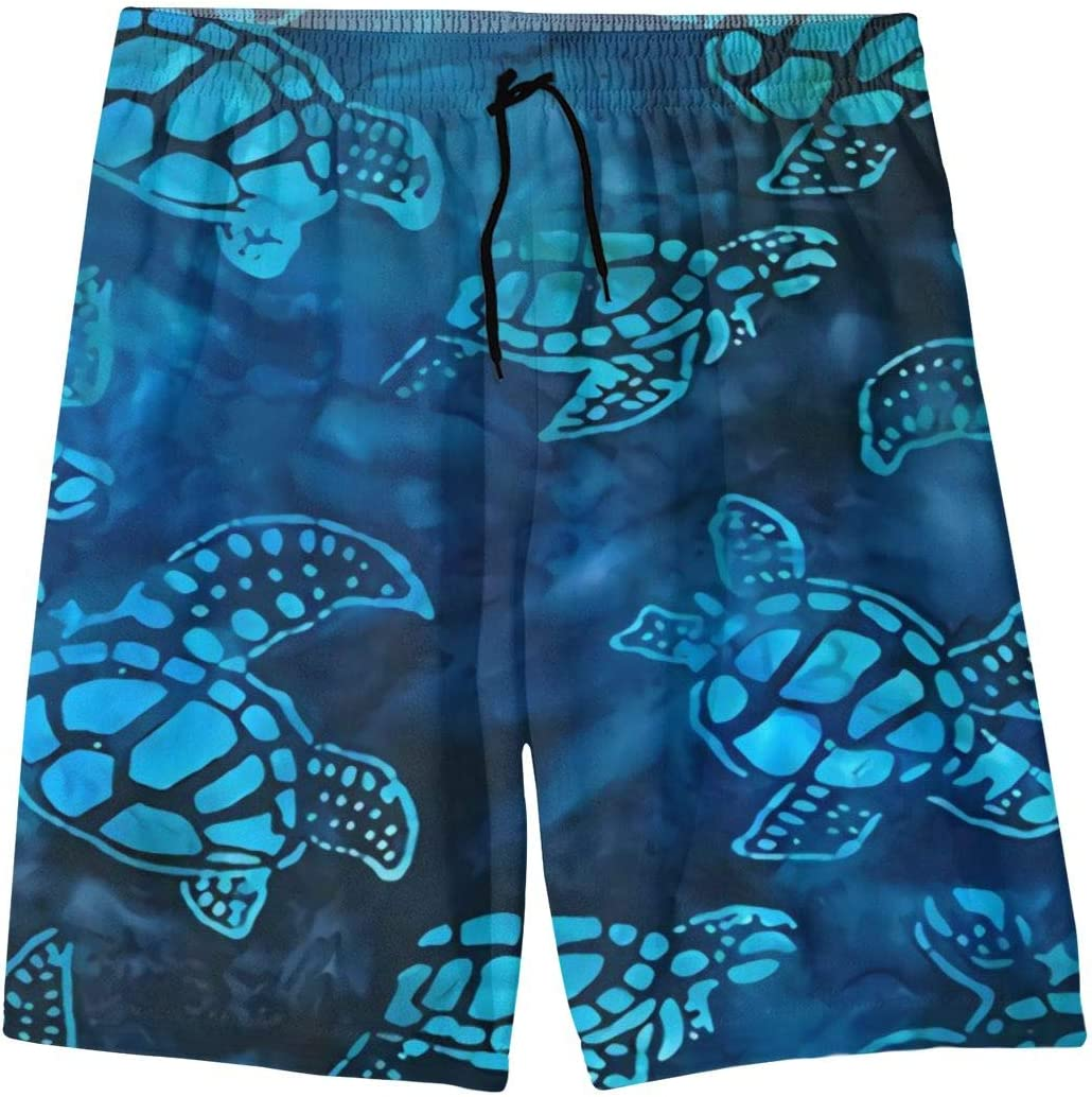 Polyester Hawaiian Sea Turtle Board Shorts with Pockets Mens Quick Dry Swim Trunks