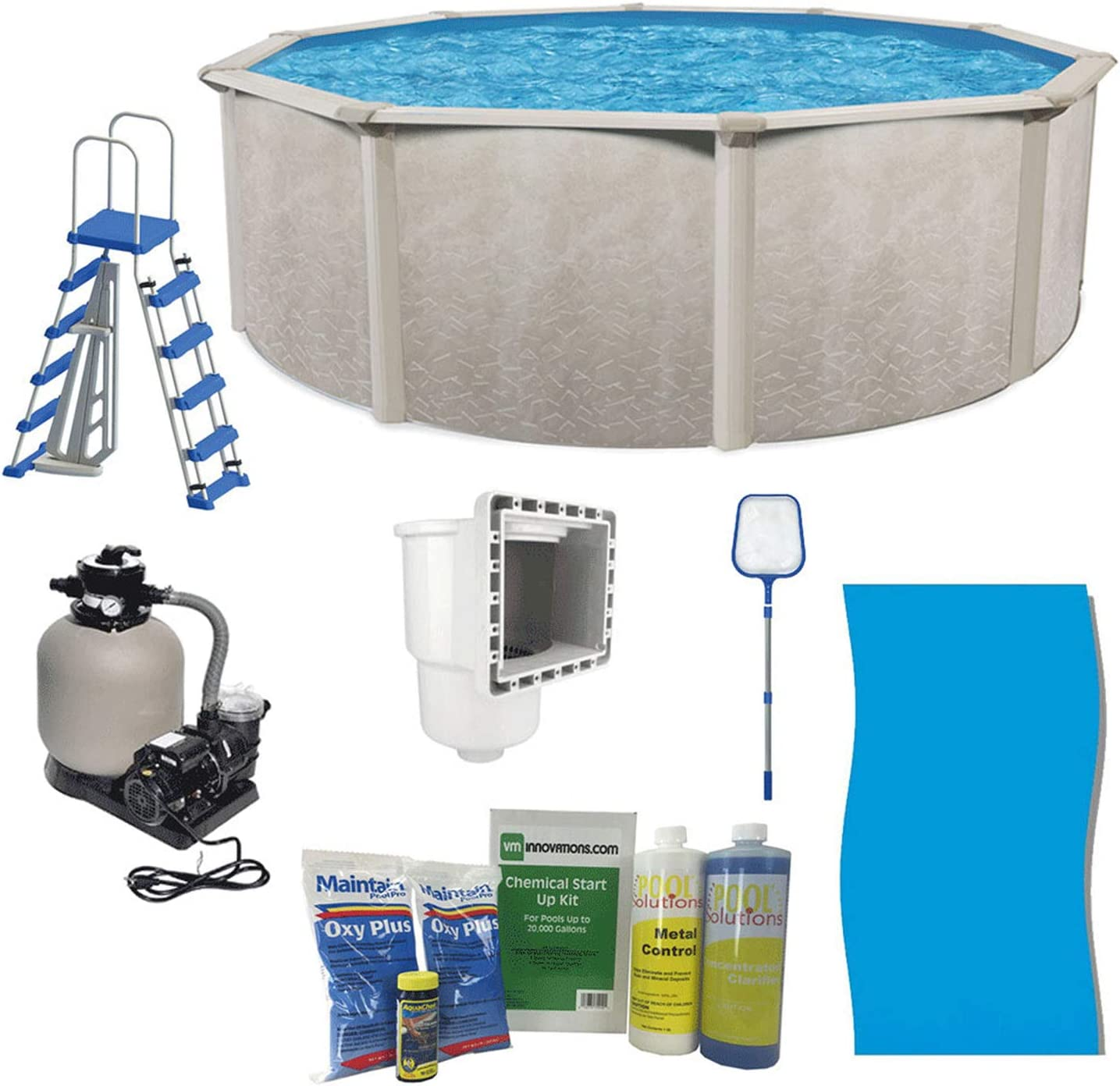 Aquarian Phoenix 21 X 52 Steel Frame Above Ground Swimming Pool Pump And Ladder Kit With Sand Filter Pool Liner Skimmer And Cleaning Accessories Garden Outdoor