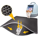 LeToo Cat Litter Mat Grey Trapping for Litter Box, No-Toxic & Large, Urine & Waterproof, Honeycomb Double Layer Anti Tracking