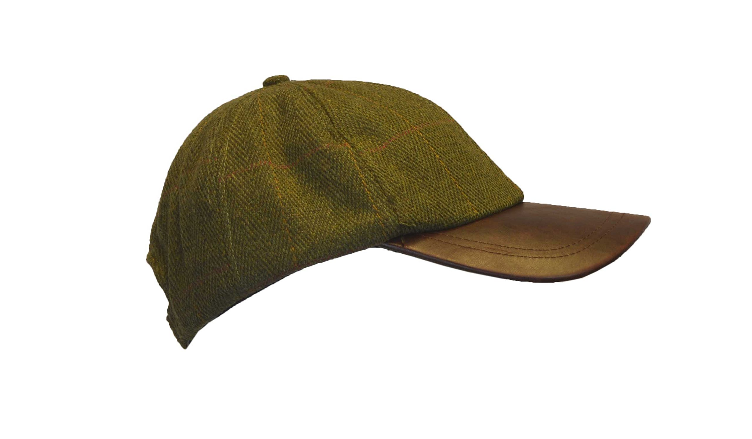 Walker and Hawkes Big Boys' Derby Tweed Baseball Cap Leather Peak Hunting Hat One Size Dark Sage
