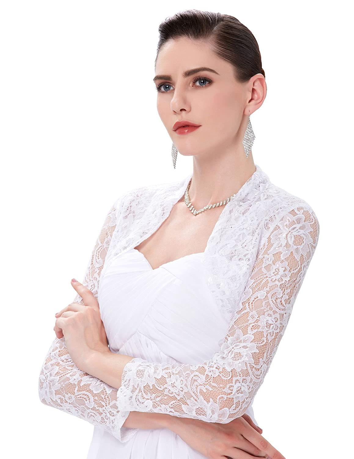 Belle Poque® Womens Cropped Lace Shrugs Bolero Short/Long Sleeves 2 Styles (Plus Size)