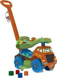 Brinquedo Primeiros Passos Caminhão Reciclagem Passeio e Andador, Bandeirante, Laranja
