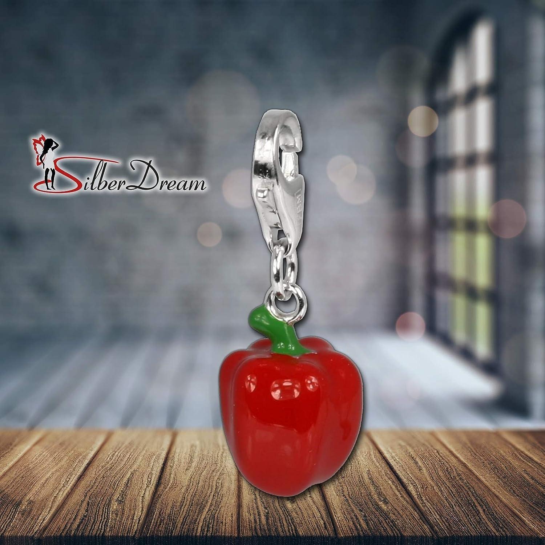 SilberDream Exclusive charms/ /Charm pimiento en plata con esmalte rojo Charm para charms collares y pulseras/ /FC621 /plata 925/Sterling/