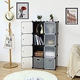 ROLAND Cube Storage Organizer, 8- Cube DIY Plastic Closet Cabinet, Modular Book Shelf Organizer Units, Storage Shelving…