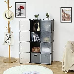 ROLAND Cube Storage Organizer, 8- Cube DIY Plastic Closet Cabinet, Modular Book Shelf Organizer Units, Storage Shelving Ideal for Bedroom Living Room Office with Doors, Black