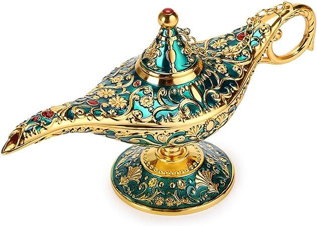 BTSKY - Lámpara de Aladín Mágica de Lujo con Caja Lámpara de Aladín Mágica, Decoración Vintage para Hogar, Oficina, Decoración de Mesa, Manualidades, Verde: Amazon.es: Hogar