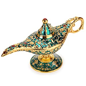 Hipiwe Vintage Magical Legend Aladdin's Genie Lamp for Home/Wedding Table Decoration,Collectable Rare Classic Arabian Costume Props Lamp Pot &Gift for Party/Halloween/Birthday(Green)
