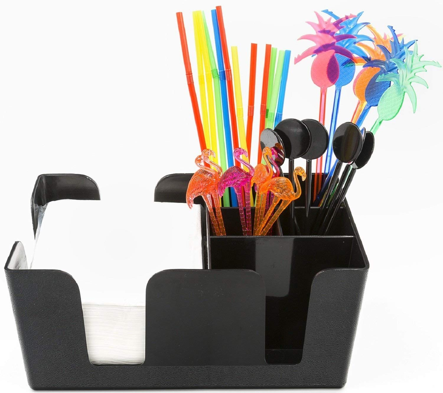 Bar Caddy (6 Compartments) - Bar Supplies Included - All Set and Ready To Go - Includes Napkins, Cocktail Straws, and Swizzle Sticks - Heavy Duty Refillable Bar Organizer (Black) by Trendy Bartender