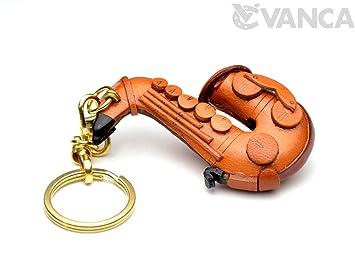 Amazon.com: Saxofón Música/Instrumento 3d llavero de piel (L ...