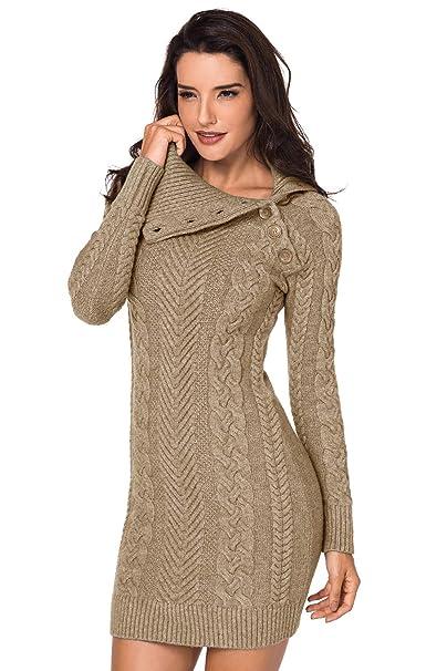 c24b4818b Aleumdr Mujer Vestido de Punto con Botón Suéter Cuello Redondo Jerséis  Casual para Mujer Size S-L  Amazon.es  Ropa y accesorios