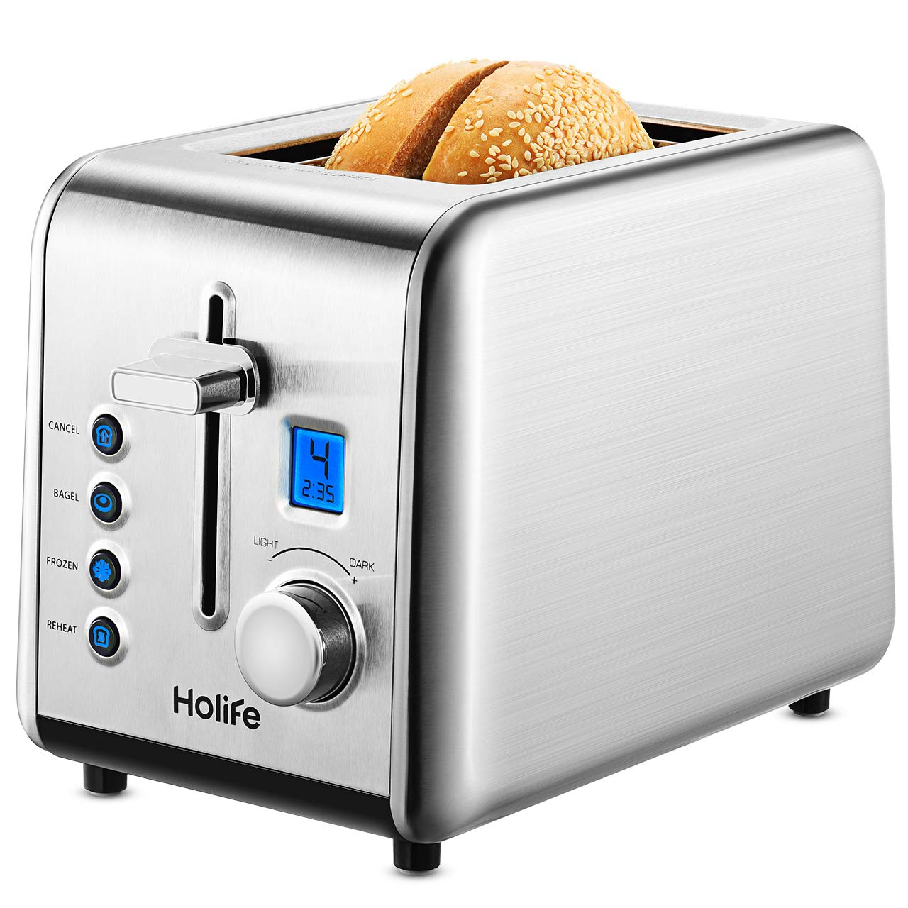 2 Slice Toaster, HoLife [ Upgraded LCD Digital Countdown Timer] Bagel Toaster Stainless Steel Toaster (6 Bread Shade Settings, Bagel/Defrost/Reheat/Cancel Function, High-lift, Extra Wide Slot, Silver) by Holife