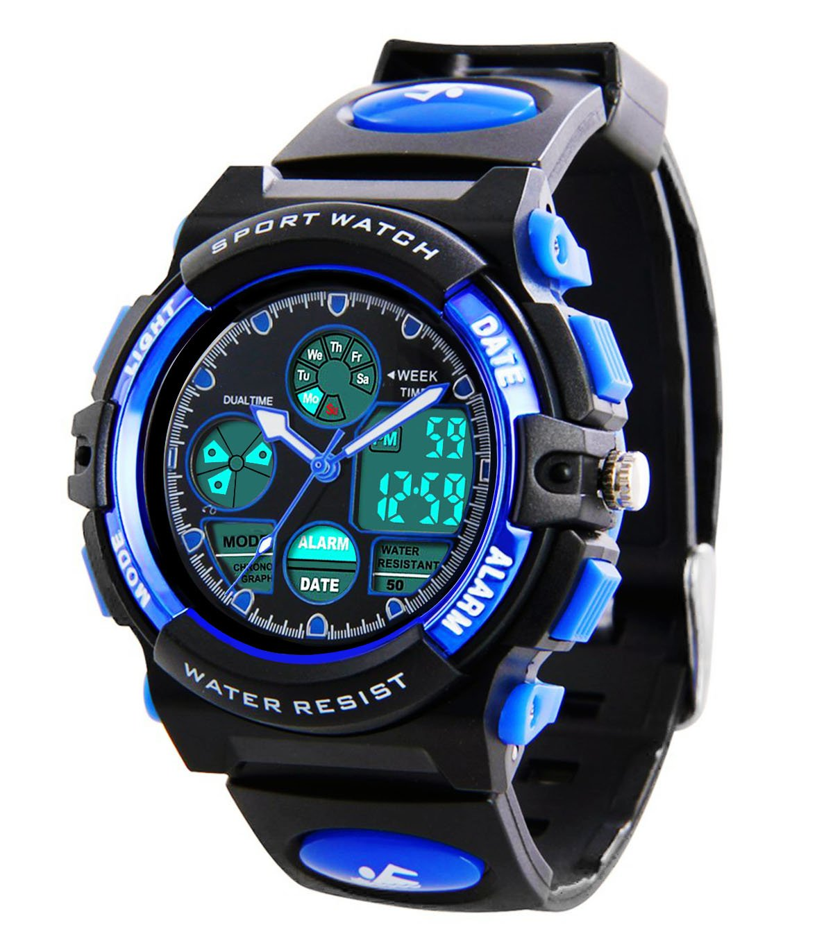 Kids Sports Digital Watch -Boys Waterproof Outdoor Analog Watch with Alarm, Wrist Watches for Childrens by MSVEW
