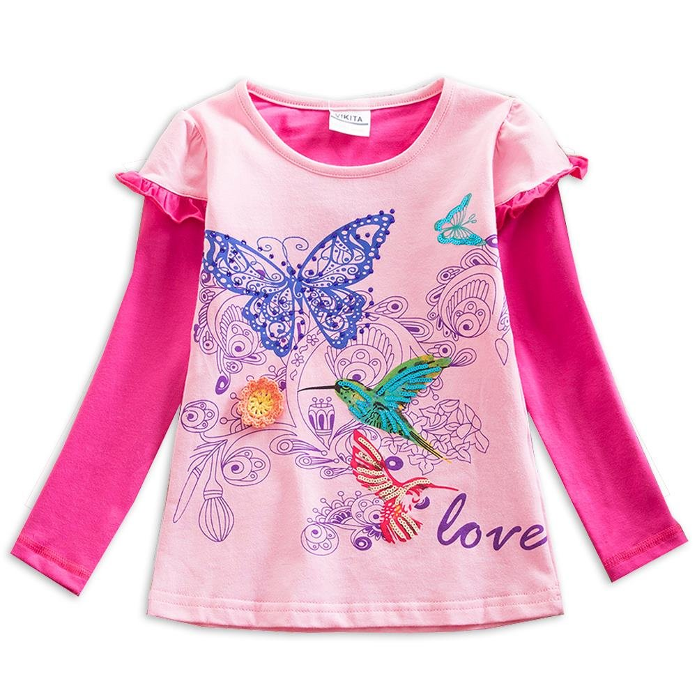 VIKITA 2017 Kid Girl Cotton Butterfly Lace Long Sleeve T Shirt Clothes 2-6 Years (G61802PINK, 3T)
