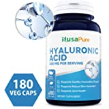 Best Hyaluronic Acid 200mg 180 Veggie Capsules (Non-GMO & Gluten Free) - Support Healthy Joints - Promote Healthy Skin - 200mg per Serving Extra Sodium 6mg - 100% Money Back Guarantee