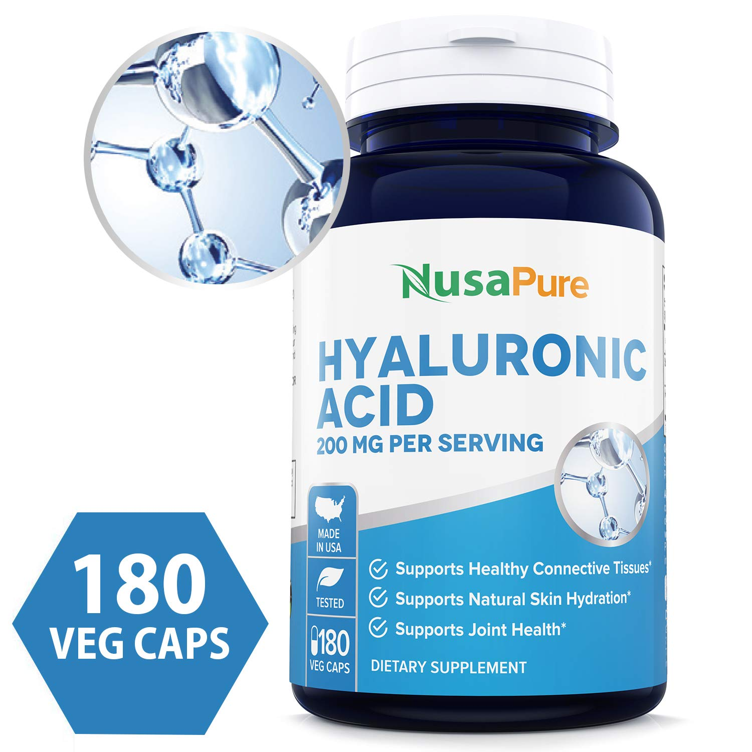 Hyaluronic Acid 200mg 180 Veggie Capsules (Non-GMO & Gluten Free) - Support Healthy Joints - Promote Healthy Skin - 200mg per Serving Extra Sodium 6mg by NusaPure