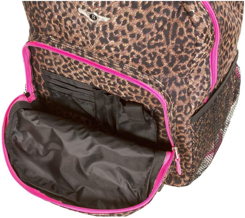 Kids Brown Leopard Pattern Rolling Backpack Wheeling Luggage Kids School Bag African Themed Duffel Lightweight Fashionable Exotic Jungle Zoo Safari Suitcase Duffel Wheels
