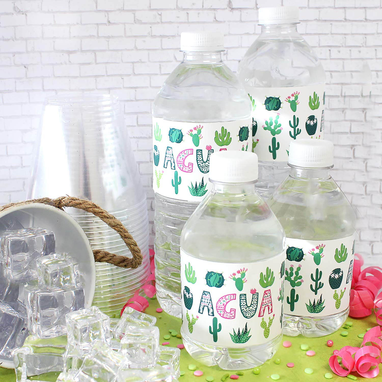 Cactus Party Water Bottle Labels Agua 24 Stickers
