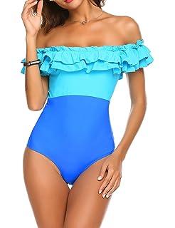 L AMORE Damen Off-Shoulder Badeanzug Badeanzug Bademode Strandmode Volant  mit Soft BH Uni e9dda8ae22
