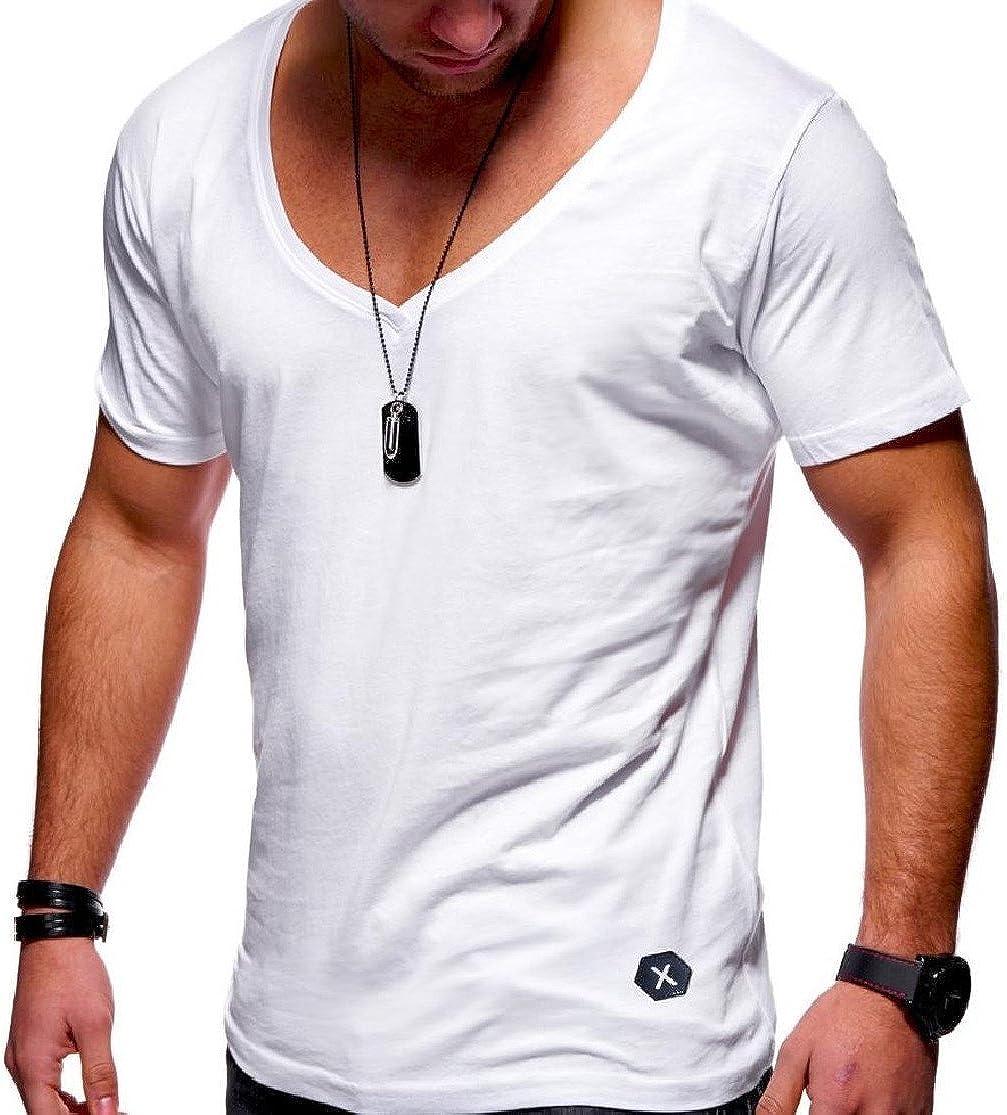 CrazyDay Mens Weekend Basic Short-Sleeve Vogue Solid-Colored V Neck Top Tee