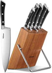 Kitchen Knife Set, Ultra Sharp, Upgraded Rust Resist and Dishwasher Safe 6-Piece Knife Set, with Wooden Block, German High Carbon Stainless Steel Cutlery Knife Block Set by Yabano