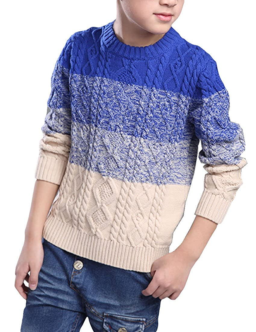 MFrannie Boys Gradient Color Cable Knit Autumn Crew Neck Sweater