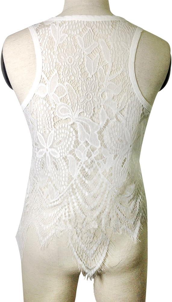 Luck Man Sali - Chaleco de Ganchillo de Encaje para Mujer, Informal, Blusa de Verano, Camisa Blanca de Talla Grande para Mujer - - Small: Amazon.es: Ropa y accesorios