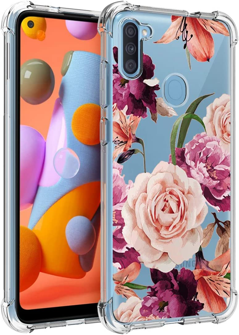Osophter for Galaxy A11 Case,Samsung A11 Case Flower Floral for Girls Women Shock-Absorption Flexible TPU Rubber Soft Silicone for Samsung Galaxy A11(Purple Flower)