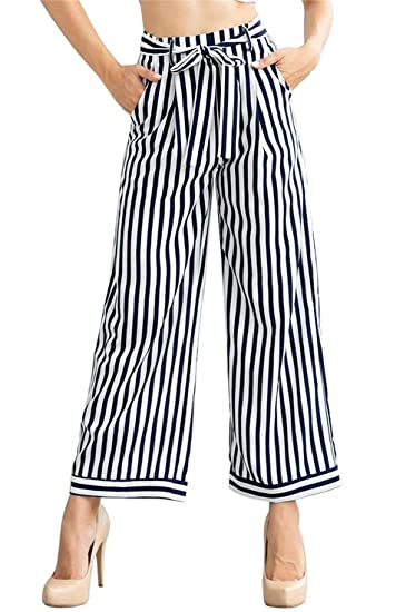 48b53d8daceb3 Shinfy Plus Size Wide Leg Pleated Palazzo Pants for Women - Loose Belted  High Waist at Amazon Women s Clothing store