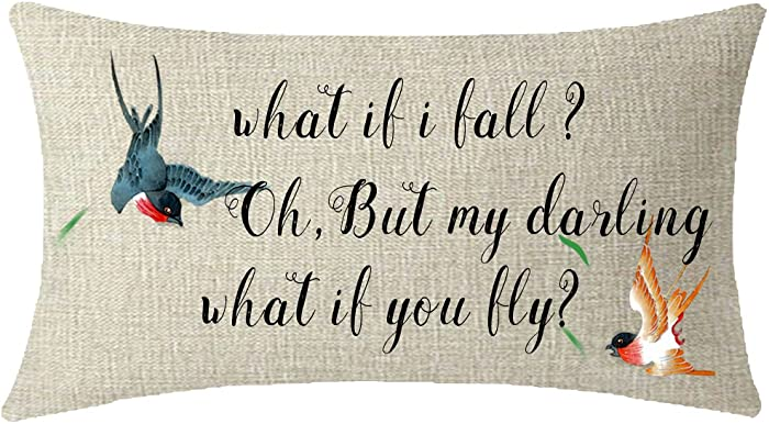 ITFRO Nice Gift What if i Fall oh but My Darling What if You Fly Swallow Birds Waist Lumbar Cotton Linen Throw Pillow Case Cushion Cover Long Oblong 12x20 inches