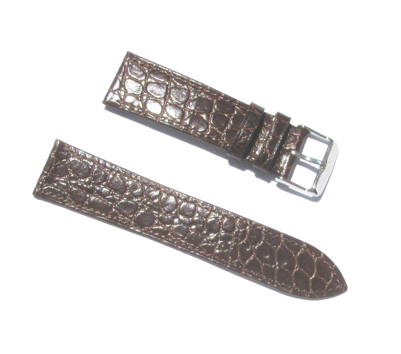 22 mm本革ブラウンクロコグレインThin Watch Band with 2スプリングバー  B01J96P28U