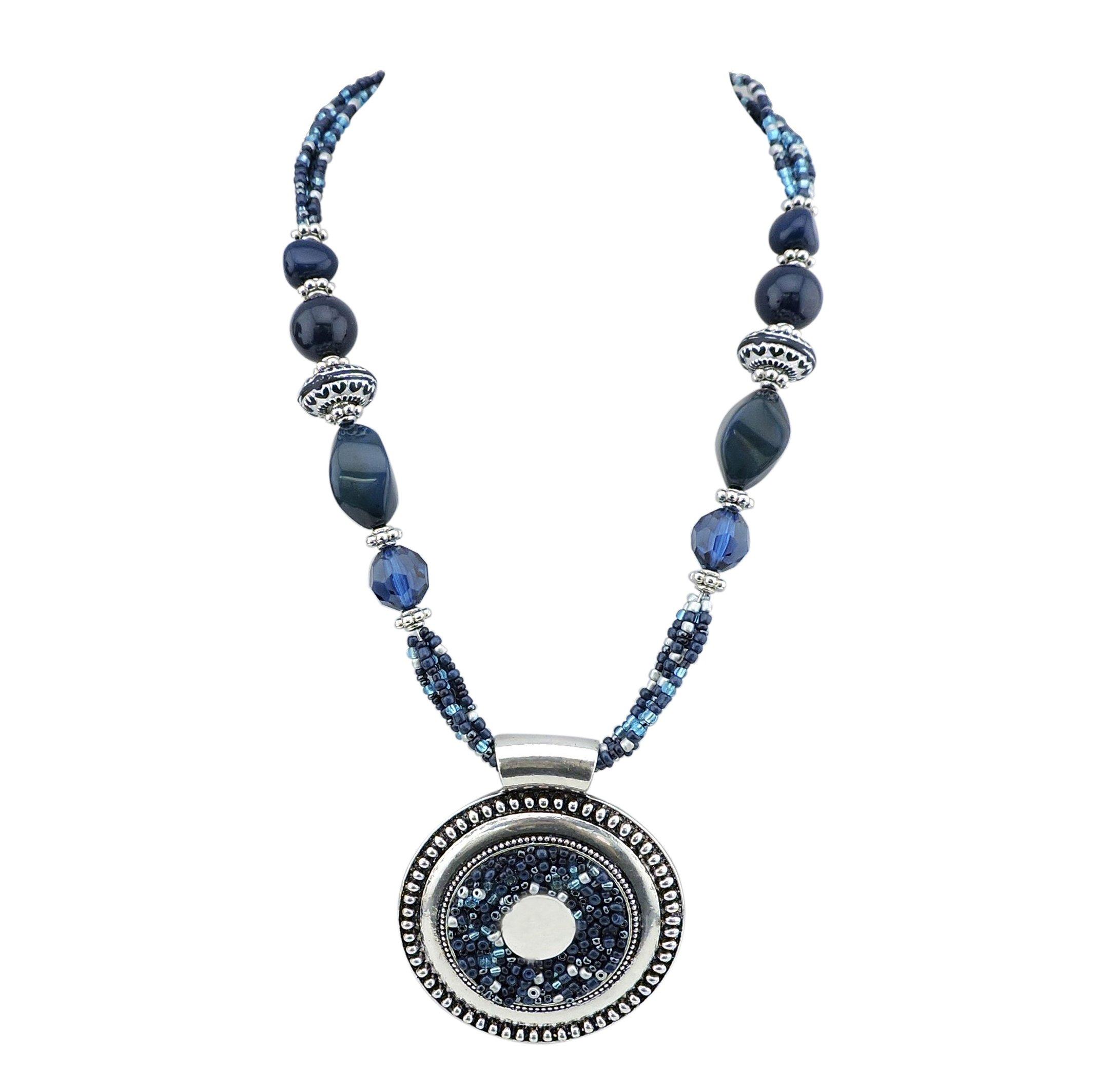 Bocar Statement Aquamarine Seed Beads Chunky Collar Pendant Necklace (NK-10343-navy Blue)