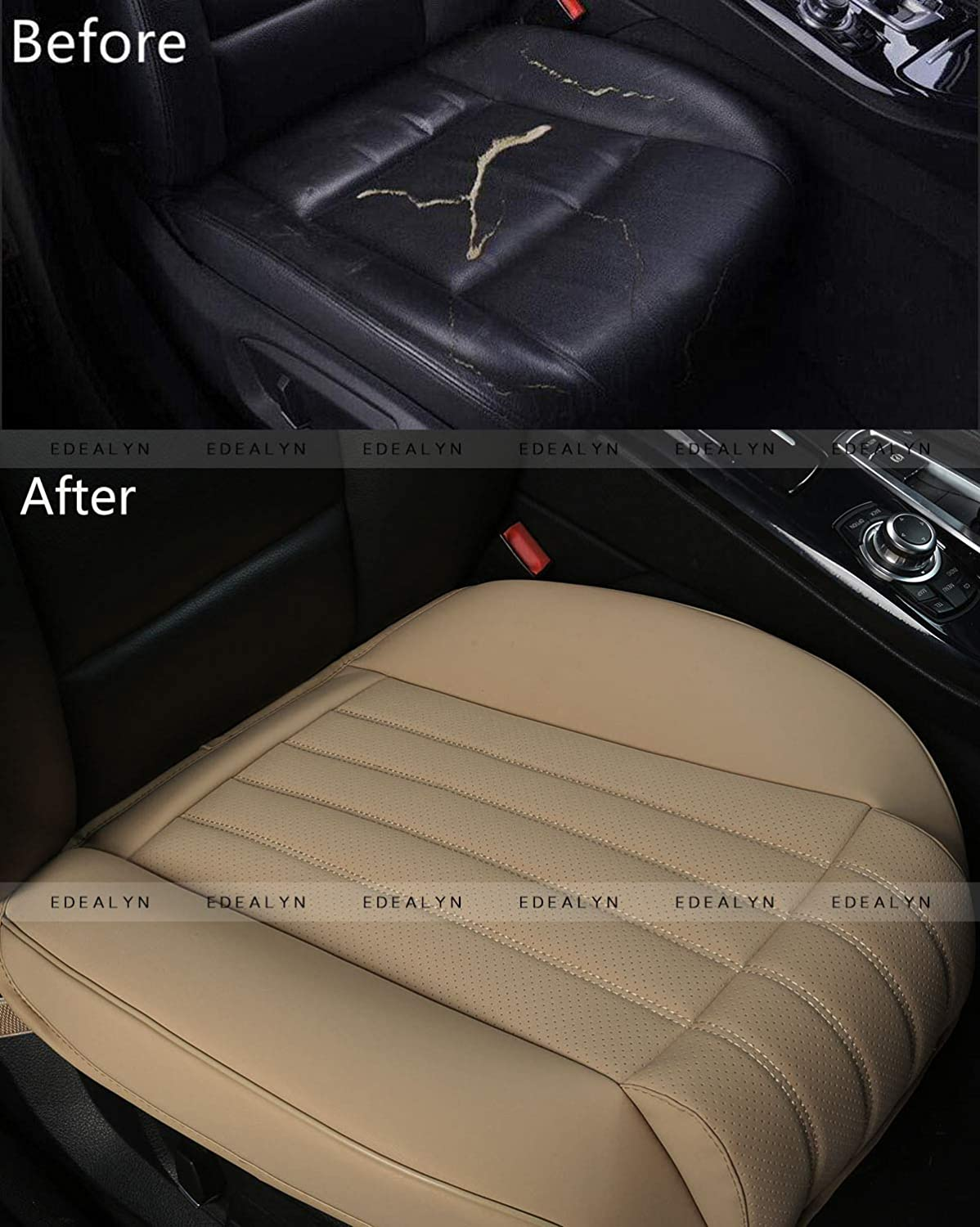 2 PCS Beige - no Charcoal EDEALYN 2PCS Driver and Passenger Seat Cover PU Leather Seat Covers Universal Car Seat Cover Front Seat Protector Fit Most Sedans /&Truck /&SUV