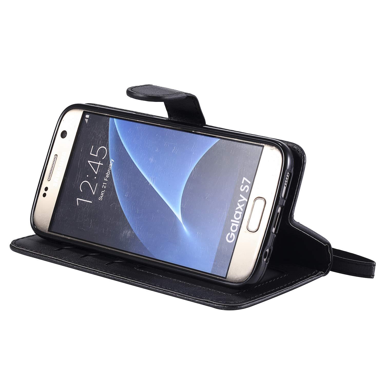 NEKTU20221 Bleu NEXCURIO Coque Galaxy S7 Cuir PU /à Rabat /Étui Housse Portefeuille Magnetique Antichoc avec Fonction de Support et Coque Souple pour Samsung Galaxy S7