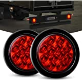 """Nilight 2PCS 4"""" Round Red LED Trailer Tail Lights w/Surface Mount Grommet Plugs IP67 Stop Brake Turn Tail Lights for…"""