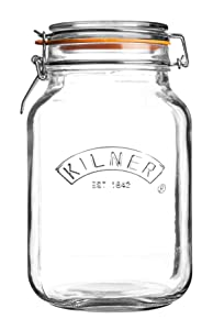 Kilner Square Clip Top Jar, Durable Glass Container with Airtight Seal for Home-canning, Preserving, and Storing, 68-Fluid Ounces
