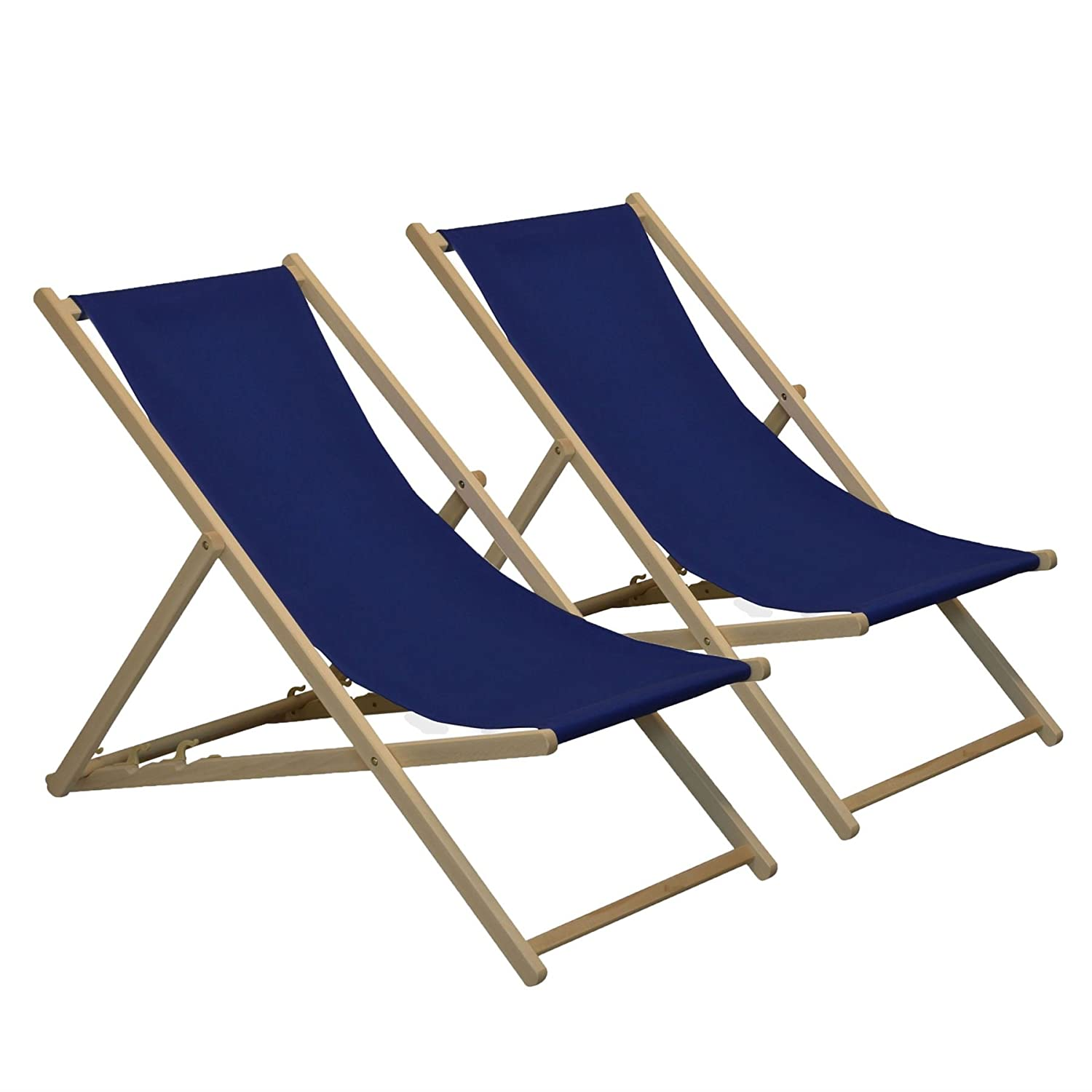 Traditional Adjustable Garden / Beach-style Deck Chair - Navy-Blue - Pack of 2 Harbour Housewares