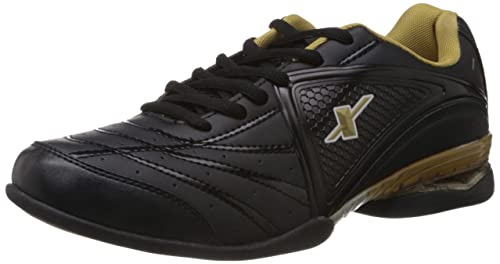 Black and Golden Mesh Running Shoes