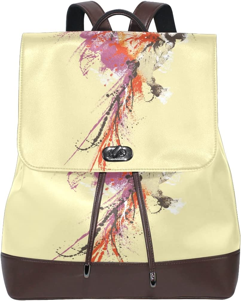 Womens Travel Backpack Abstract Art Bird Leather Shoulder Bags